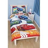 Boys Disney Cars Speed Reversible Single Quilt/Duvet Cover Bedding Set (Single Bed) (White/Blue/Red)