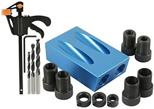 iplusmile Pack of 15 Oblique Drill Guide Pocket Hole Jig Kit 15 Degree Angle Woodwork Guides Joint Angle Tool DIY Carpentry Projects