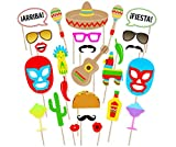 FIESTA PHOTO BOOTH PROPS-Mexican Theme Party Supplies,Cinco De Mayo Decorations,Party Favors,Selfie Props for Mexican Birthday Wedding Bachelorette Fiesta-Make Mexico Great Again-Sticks in Kit 26 PCS