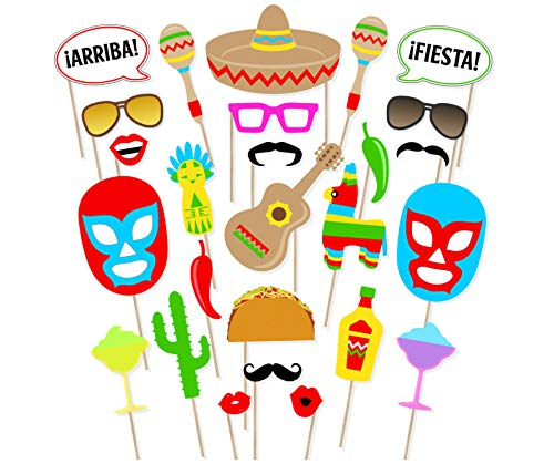 Cinco De Mayo Photo Booth Props Mexican Fiesta Fun 29 Pcs Mexico