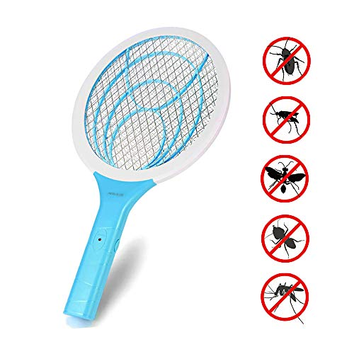 Electronic Fly Swatter Mosquito Killer Bee Bugs Zapper Bat Racket, Pests Insects Control Repellent Fly Racquet with 3-Layer Safety Mesh for Indoor and Outdoor