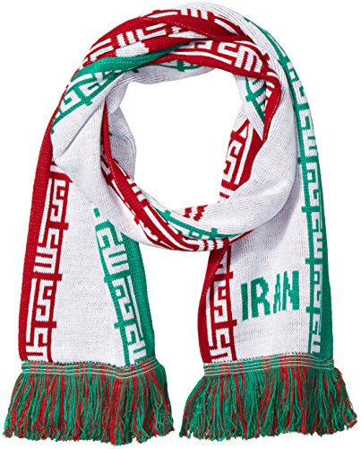 National Soccer Team Iran Jacquard Knit Scarf, One Size, Red/Green/White