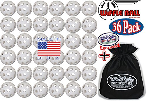 Wiffle Plastic Practice Golf Balls 36 Pack with Exclusive ''Matty's Toy Stop'' Storage Bag by Wiffle