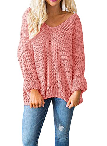 Dolman Sleeve Tunic Sweater - YONYWA Womens Sweaters Oversized V Neck Off Shoulder Long Sleeve Cable Knit Pullover Sweater Tunic Tops