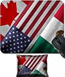MSD Mouse Wrist Rest and Small Mousepad Set, 2pc Wrist Support design 32559273 Close up of the flags of the North American Free Trade Agreement NAFTA members on textile texture NAFTA is