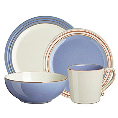 Denby USA Heritage 4 Piece Fountain Place Setting Dinnerware Set, Multicolor - Oven, microwave, freezer and dishwasher safe Made from high quality stoneware Handcrafted by skilled artisans - kitchen-tabletop, kitchen-dining-room, dinnerware-sets - 51s5Q2zqZkL. SS400  -