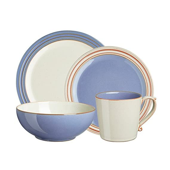Denby USA Heritage 4 Piece Fountain Place Setting Dinnerware Set, Multicolor - Oven, microwave, freezer and dishwasher safe Made from high quality stoneware Handcrafted by skilled artisans - kitchen-tabletop, kitchen-dining-room, dinnerware-sets - 51s5Q2zqZkL. SS570  -