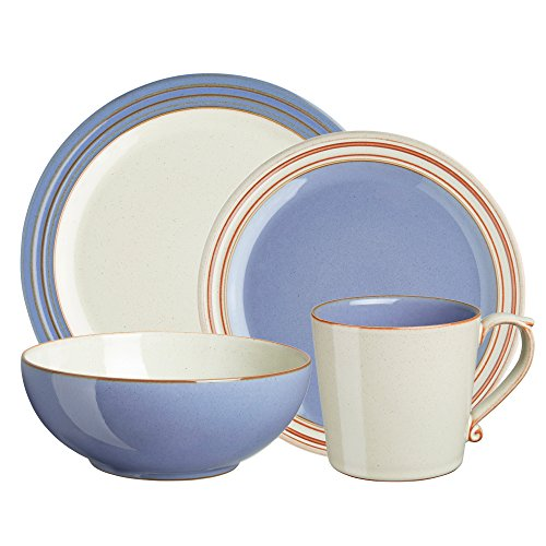 Denby USA Heritage 4 Piece Fountain Place Setting Dinnerware Set, Multicolor (Denby Dinnerware Bowls)