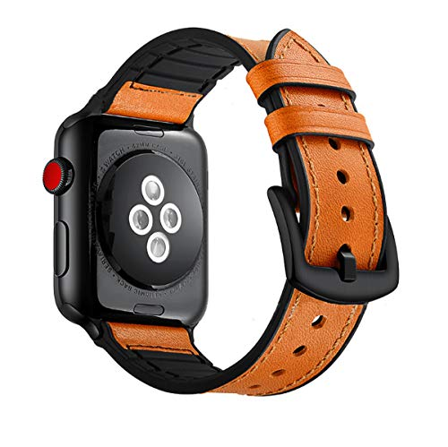 Ymtmnv Rubber Hybrid and Genuine Leather Bands Compatible with Apple Watch 44mm/42mm 40mm/38mm Women Men, Sweatproof Watch Bands for Apple Watch Series 4/3/2/1 Edition (Orange,42mm/44mm)