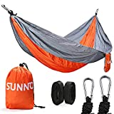 Double Camping Hammock. Ripstop Nylon & Durable Stitching 500lbs Weight Capacity Safe Belt Straps - Lightweight, Portable & Folding - For Patio, Beach, Garden Use & Outdoor Recreation (Orange/Gray)