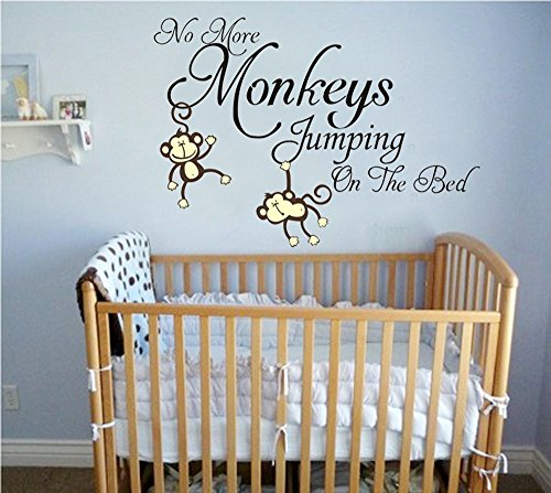 (ANBER No More Monkey Jumping On The Bed Quote Wall Decal Removable Vinyl Sticker Baby Nursery Kids Room)