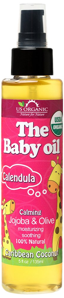 US Organic Baby Oil with Calendula, Smooth Caribbean Coconut, Certified Organic by USDA, Jojoba & Olive Oil with Vitamin E, No Alcohol, Paraben, Artificial Detergents, Color, Synthetic Perfumes, 5 fl. oz.