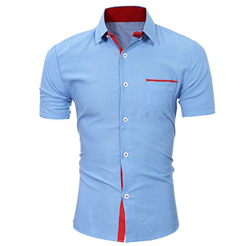 Mens Summer Short Sleeve Dot Print Business Shirts Tops Casual Regular Fit Blouse for Men Clothes Blue