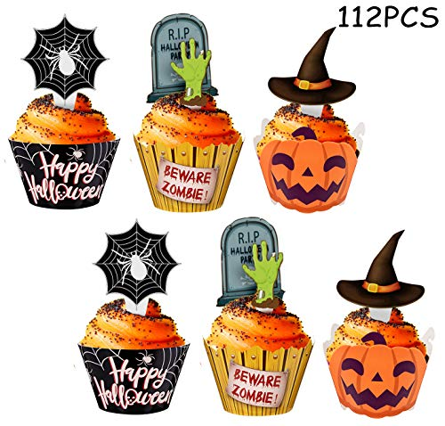 Halloween Cupcake Toppers Wrappers - Spider Web Pumpkin Zombie Hand Cake Party Decorations Supplies -