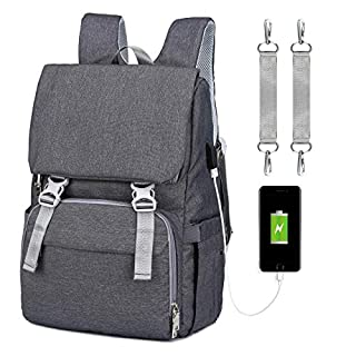 Diaper Bag Backpack, Unisex Baby bags with USB Charge Baby Changing Bag, Insulated Pockets & Pacifier Holder, Large Multifunction Travel Back Pack for Mom & Dad
