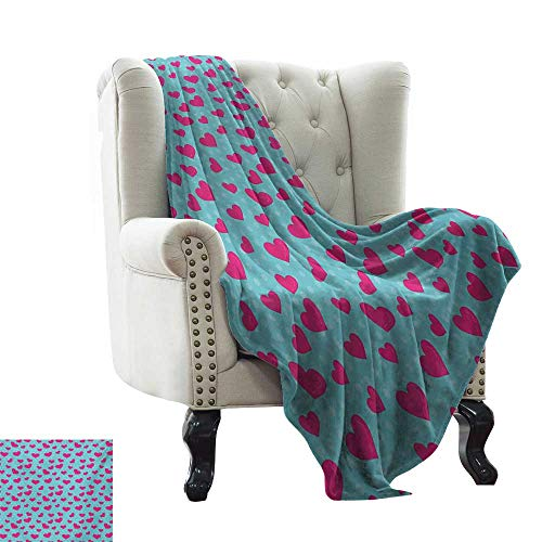 BelleAckerman Faux Fur Throw Blanket Pop Art,Retro 50s 58s Style Image with Hearts Abstract Polka Dots Art Print,Hot Pink and Turquoise Extra Cozy, Machine Washable, Comfortable Home Decor 50