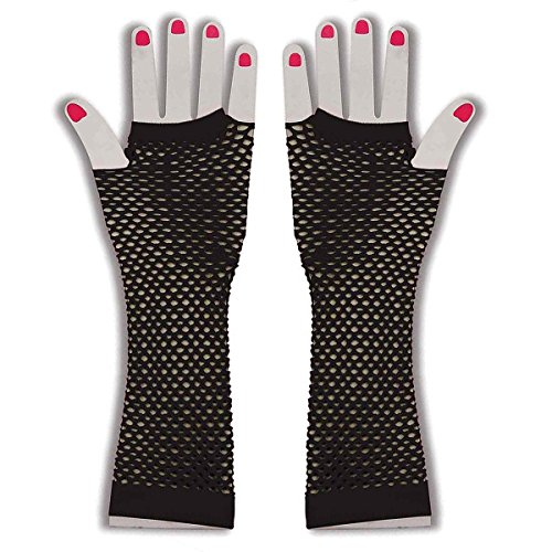 Costume 1980s Fishnet Gloves - Long Fingerless Fishnet Glove by Funny Party Hats (Fancy Dress 80s Style)