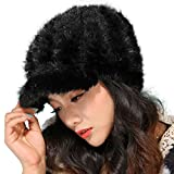 Mandy's Women's Winter Warm Genuine Mink Fur Caps Below Zero Show Hats (one size fit most, Black)