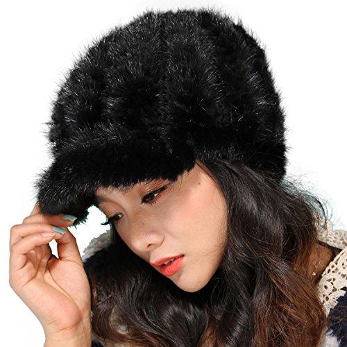 Mandy's Women's Winter Warm Genuine Mink Fur Caps Below Zero Show Hats (one size fit most, Black) by Mandy's