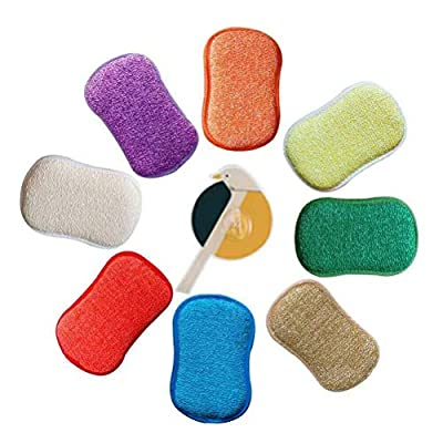 Antibacterial Microfiber Kitchen Scouring Pads Double Sided Scrubbing Sponges Scourer Non Odor Dish Scrubber Brush, Great for Non Stick Pans Pots Cookware, Pack of 5 Random Colors with Adhesive Hooks
