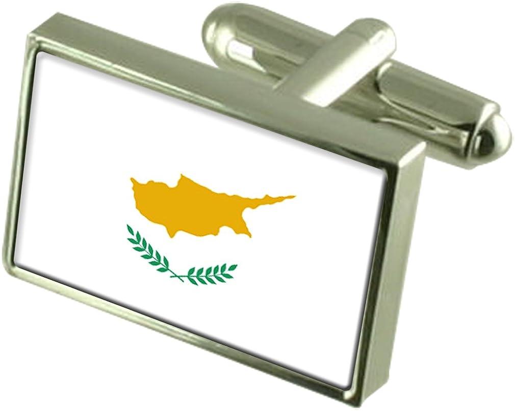 Cyprus Sterling Silver Flag Cufflinks in Engraved Personalised Box