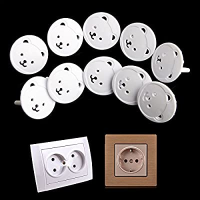 DDS-DUDES 10Pcs Power Kid Socket Cover Baby Child Electric Power Mains Point Plug Protector Guard