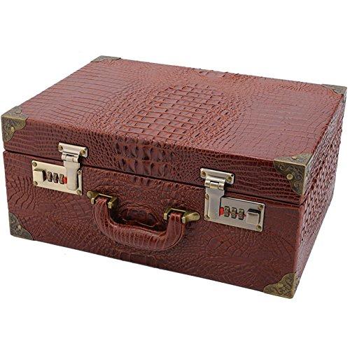 NACHEN Barber Box Case Organizer Hairstylist Portable Suitcase Password Lock Storage Box,Brown,35.5X26.5X15.5Cm by NACHEN (Image #3)