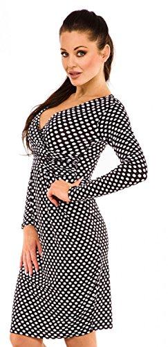 Zeta Ville - Jersey Vestido de Lunares - Cuello en V Cruzada - Para Mujer - 144z Negro con puntos