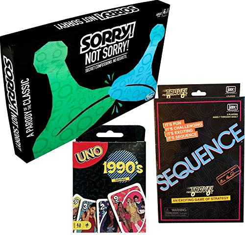 Game Twist Retro 90's Card Match Uno Theme Deck Throwback Bundled with Sorry! Not Sorry Twisted Classic Board & Sequence Travel 3 Items