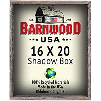 BarnwoodUSA Rustic 16 by 20 Inch Picture Frame, Collectible Shadow Box - 100% Reclaimed Wood, Weathered Gray