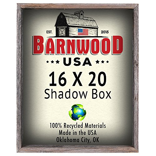Wood Shadow Box Frames (BarnwoodUSA Rustic 16 by 20 Inch Picture Frame, Collectible Shadow Box - 100% Reclaimed Wood, Weathered Gray)