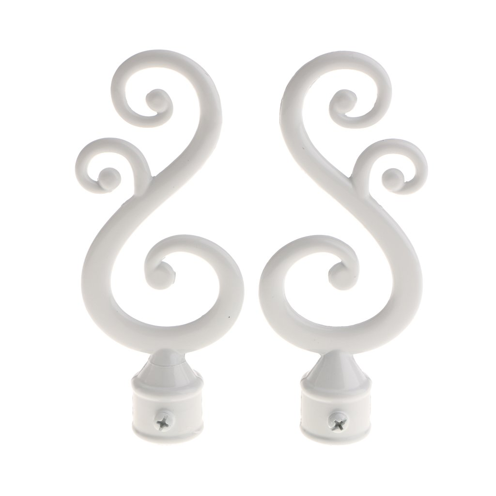 Homyl 2pcs Window Curtain Drapery Rod/Pole Finials Ends Home Window Decor 22mm 3 Types - Type 1 - White