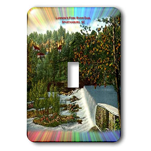 - 3dRose Sandy Mertens South Carolina - Lawsons Fork River Dam, Spartanburg, SC (Vintage and Modern) - Light Switch Covers - single toggle switch (lsp_61746_1)
