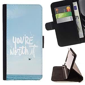 BullDog Case - FOR/Sony Xperia Z1 Compact D5503 / - / you're worth it motivational poster /- Monedero de cuero de la PU Llevar cubierta de la caja con el ID Credit Card Slots Flip funda de cuer