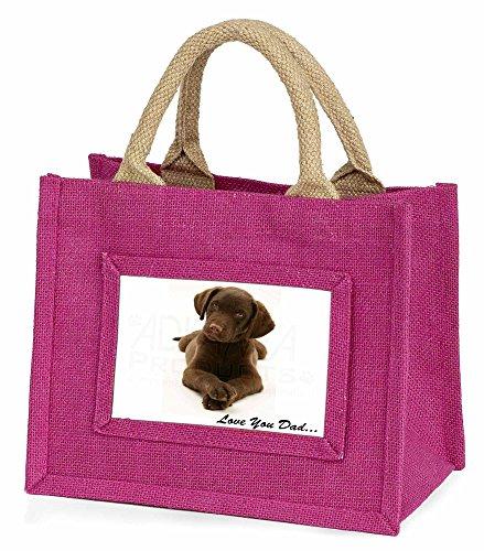 Advanta Schokolade Labrador Love You Dad Little Mädchen Einkaufstasche Weihnachten Geschenk, Jute, pink, 25,5x 21x 2cm