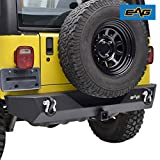 E-Autogrilles 51-0014 EAG Rear Bumper With 2'' Hitch Receiver & 2 D-ring Black Textured Off Road for 87-06 Jeep Wrangler TJ YJ