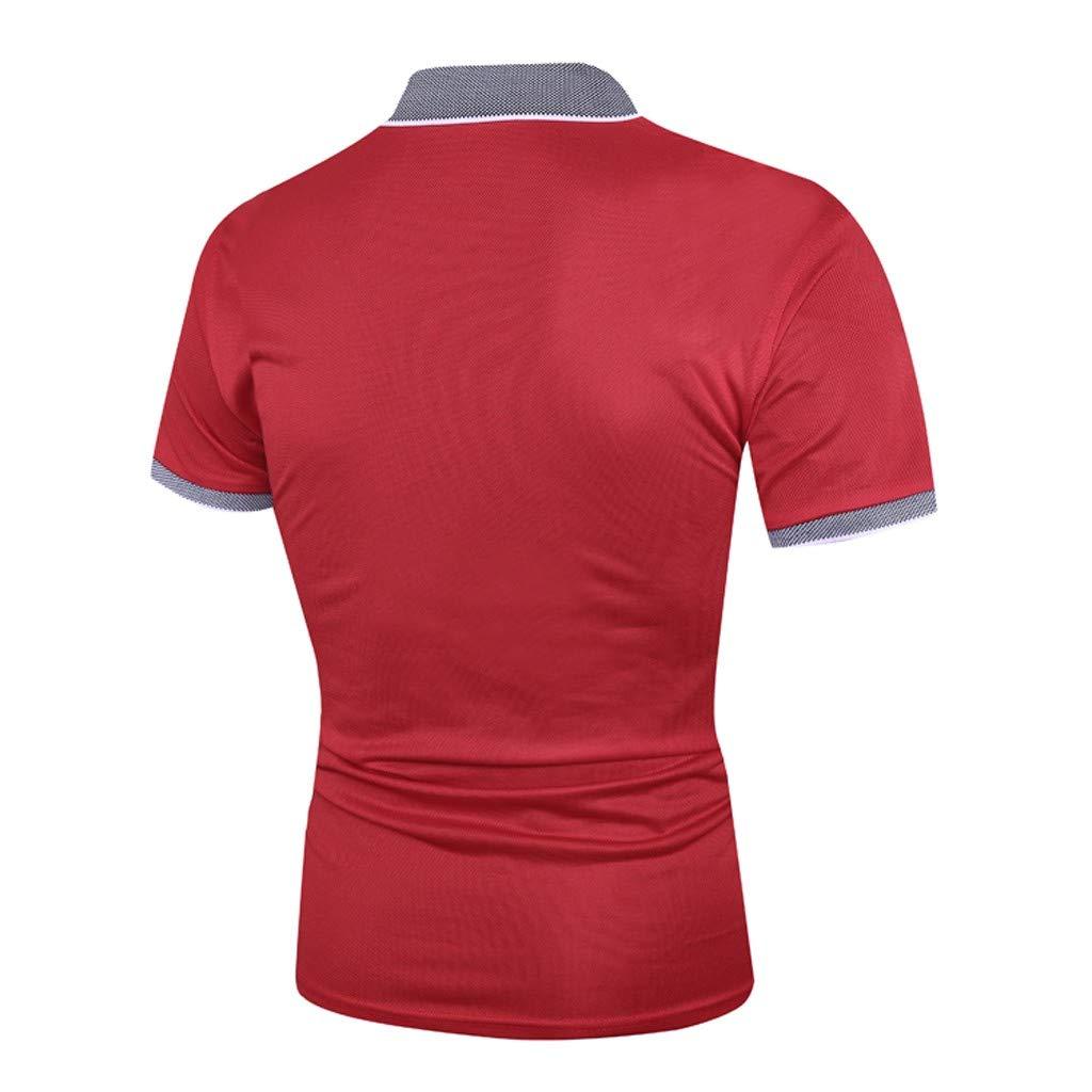 WFeieig Mens Tops V Neck Fashion Personality Casual Slim Pocket Tees Shirt Short Sleeve T Shirt Blouse
