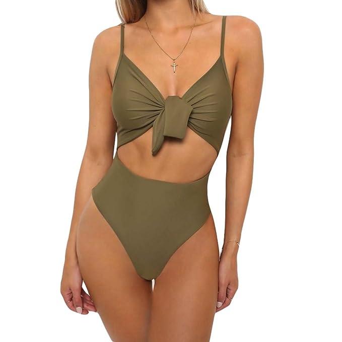 8b46d2b032 Wanyang Donna Costumi Interi Moda Bikini Imbottiti High Cut Costume Intero  Brasiliana Monokini Trikini Costumi da Bagno Mare Tinta Unita: Amazon.it:  ...
