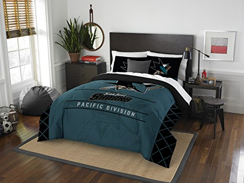 The Northwest Company Officially Licensed NHL San Jose Sharks Draft Full/Queen Comforter and 2 Sham Set, Black/Teal
