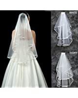 MyArmor 2 Layer Ribbon Edge Cathedral Elbow Bride Wedding Veil With Comb