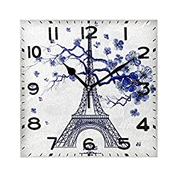 Naanle Chic Eiffel Tower Flower Paris Pattern Square Wall Clock Decorative, 8 Inch Battery Operated Quartz Analog Quiet Desk Clock for Home,Office,School