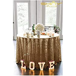 Copper Sequin Tablecloth 72Inch Blush Gold Round Linen Tablecloth Great Gatsby Decorations
