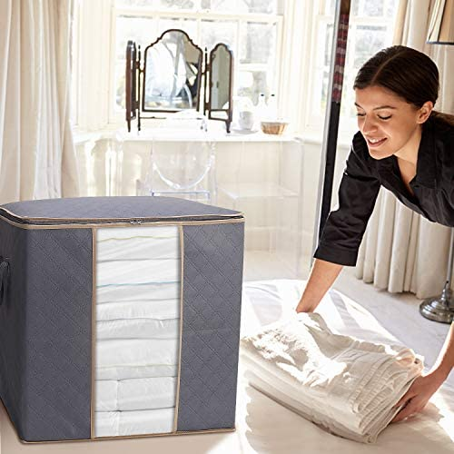 WiseLife Storage Bags 100L 3-Pack Large Blanket Clothes Organization and Storage Containers for Bedding, Comforters, Foldable Organizer with Reinforced Handle, Clear Window, Sturdy Zippers, Grey