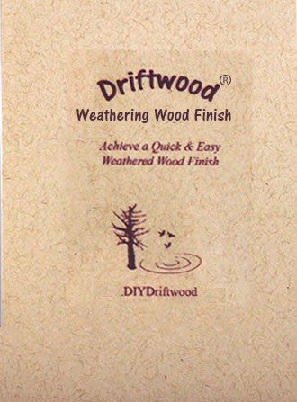 DRIFTWOOD WEATHERING WOOD FINISH gray wood stain - Create a Driftwood Weathered Wood Finish on unfinished wood in minutes; mix with water and apply on furniture, floors, feature walls, wood frames (Wood Low Stain Voc)