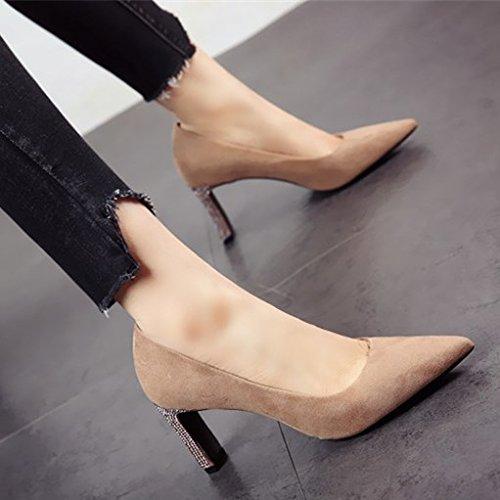 FLYRCX Primavera señaló zapatos de tacón zapatos de tacón más superficial zapatos de cuero más someras parte zapatos b