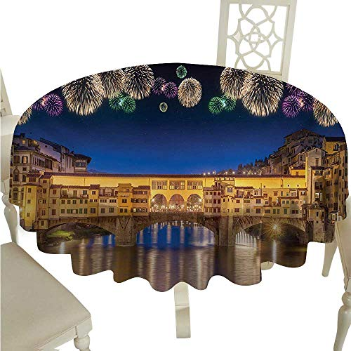 Iridescent cloud Landscape Decorative Textured Fabric Tablecloth Night Panoramic View Vecchio Bridge Florence Italy Colorful Fireworks Great for Buffet Table D70 Yellow Navy Purple