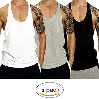 InleaderStyle Men Gym Bodybuilding Blank Stringer Cotton Tank Top Vest(1/3 Pack)
