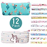 Reastar 2pcs Unicorn Flamingo Pencil Case for Kids with 10 Colorful Fine Point 0.5mm Pen - School Supplies, Makeup Pouch, Best Unicorn/Flamingos Gifts