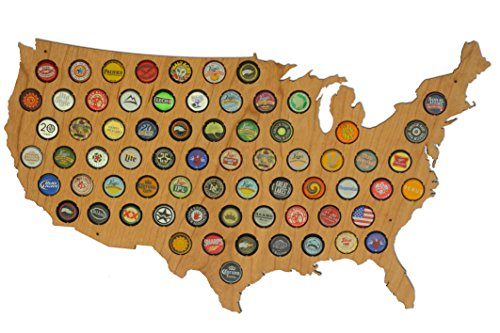 USA Beer Cap Map Cherry - Glossy Wood Bottle Cap Holder - Skyline Workshop - Great Father's Day gift