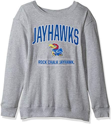 J America NCAA Kansas Jayhawks Womens NCAA Women's Light Weight Oversized Fleece, Large, Oxford (Kansas Jayhawks Apparel)